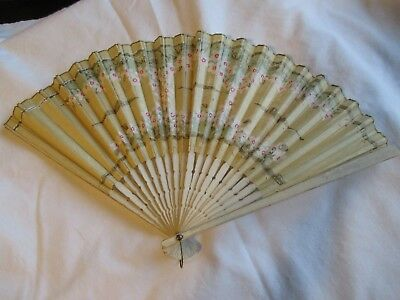 Vintage hand fan, Japan, advertising for Bissell on reverse side, wood/cloth