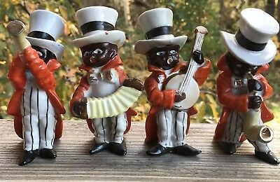 4 Black Americana TOP HAT Orange Tuxedo Music Playing Magicians Lot Great Shape