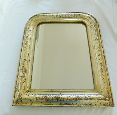 Antique French Gilt Gesso Mirror, Wood Frame w Decorative Engraving Mid 1800's