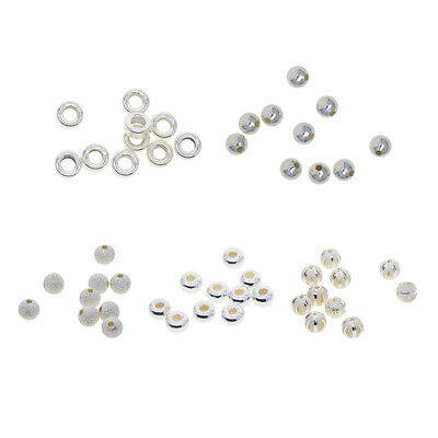10pcs 925 Sterling Silver Spacer Bead DIY Craft Loose Bead Jewelry Ornament