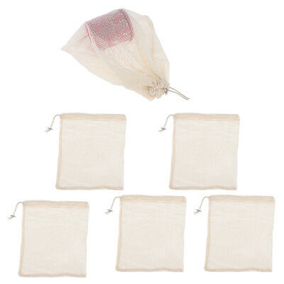 5x Reusable Produce Bags Mesh Grocery Sack Toys Vegetable Storage Pouch