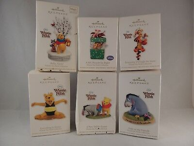 Lot of 5 WINNIE THE POOH Hallmark ornaments Disney Eeyore Piglet  & Tigger too!