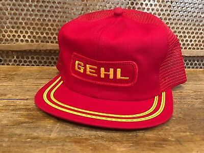 Vintage GEHL Mesh SnapBack Trucker Hat Cap Patch K Products Made In USA