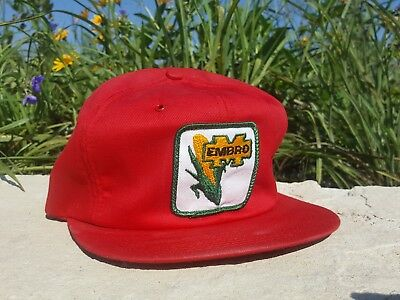 Vintage EMBRO SEED CORN Mesh Snapback Trucker Hat Patch K BRAND Made In USA