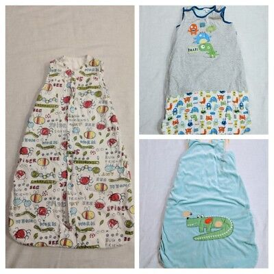 3 baby sleeping bags x 2 6-18 months, x 1 0-6 months. GROBAG/UNBRANDED. 2.5 TOG