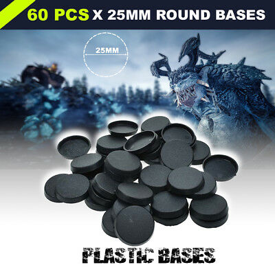 60pcs 25mm Round Bases For Miniatures Figures Wargame Bases Warhammer Table game