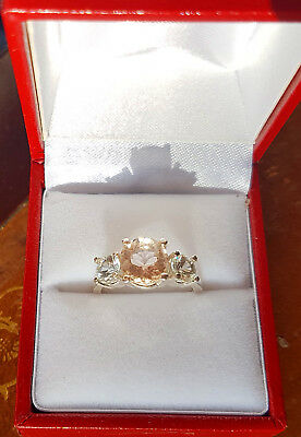 STUNNING,  MORGANITE AND SAPPHIRE STERLING SILVER RING, SIZE N, 8mm & 5mm ROUND