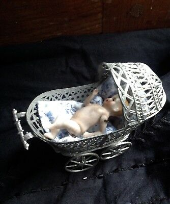 Antique Vintage Dolls House Soft Metal Pram & Miniature German Bisque Baby Doll