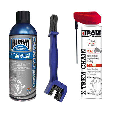 KIT Pulizia catena Pulitore catene Bel Ray + Ipone X-TREM chain road + Spazzola