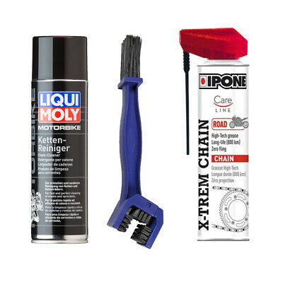 KIT Pulizia catena Brake Cleaner Liqui Moly + Ipone X-TREM chain road + Spazzola