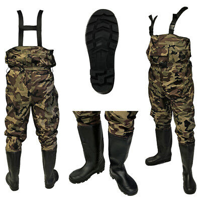 100% Waterproof Nylon Camo Carp Coarse Fly Fishing Chest Waders PVC Boots Sizes