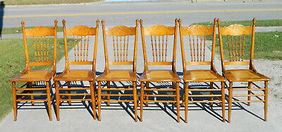 Set of 6 Oak Dining Chairs~~~Pressed Back~~Cane Bottom circa1900