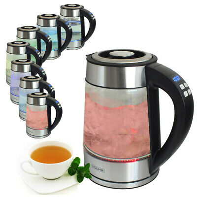 Voche® 1.7L Glass Digital Variable Temperature Kettle With Colour Changing Leds