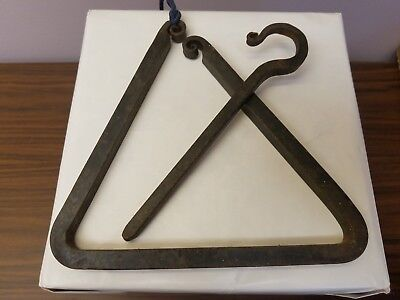 Vintage Hand Made Dinner Triangle Bell Wrought Iron