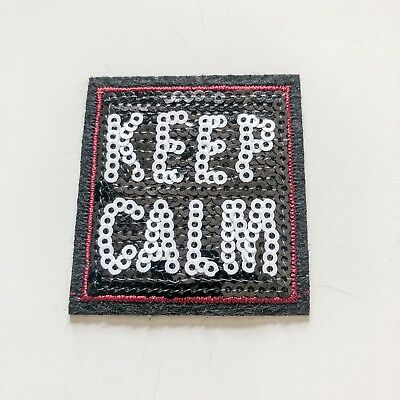 Keep Calm Word Lady Girl Toy boy kid Sew Iron On Embroidered Patch Applique