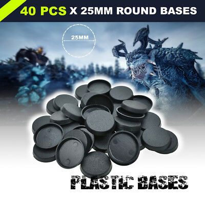25mm 40PCS Plastic Round Bases for Warhammer Miniatures Wargames Circular Bases