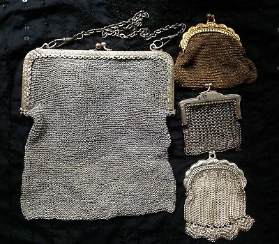 Lot French Antique Vintage Mesh Chain Mail Purse Bag Silver Plated Gilt Art Deco