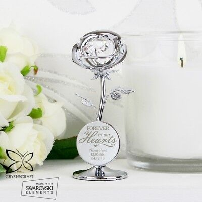 Personalised Forever in Our Hearts Crystocraft Silver Rose Ornament Memorial