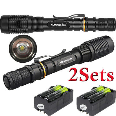 Zoomable 50000LM T6 LED 5Modes Tactical Flashlight Torch&Charger&18650Battery