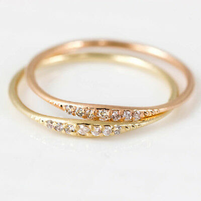 Exquisite Small Round Rhinestone Filled Tiny Baguette Diamond Ring Size 6-10