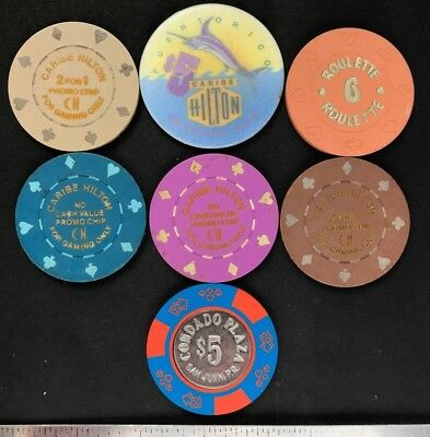 Puerto Rico Casino coin Chips, lot of 7