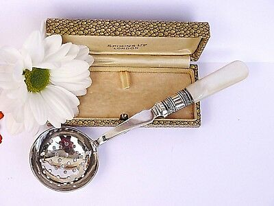Lovely Antique Sugar Sifting Spoon With A Mop Handle & Sterling Silver Collar