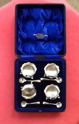 Cased Set Of Silver Salts & Spoons, Lovely Quality, Leeds Maker.