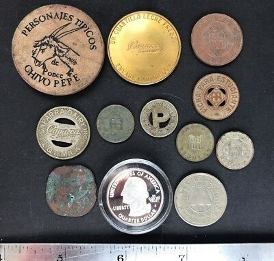 Puerto Rico Tokens Exonumia lot of 12 transportation, milk ind., other souvenir