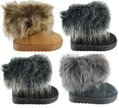 Childrens Girls Kids Infants Faux Fur Winter Boots Warm Lined Ankle Sole Shoes