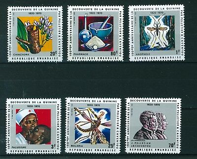 Rwanda 1970 Discovery of Quinine & Alkaloids full set of stamps Mint. Sg 377-382