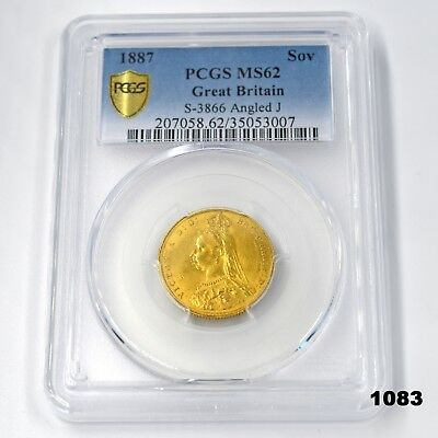 1887 Great Britain Gold Sovereign Coin Certified PCGS MS62 in Clear Display Case