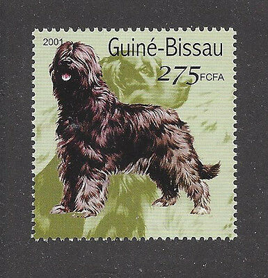 Dog Art Full Body Portrait Postage Stamp BRIARD Sheepdog Guinea Bissau 2001 MNH