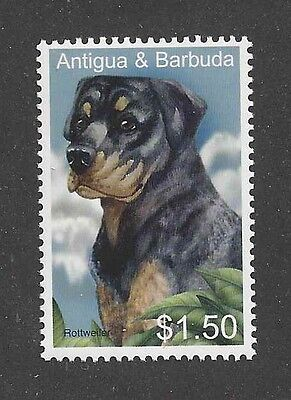 Dog Art Head Study Portrait Postage Stamp ROTTWEILER Antigua & Barbuda MNH