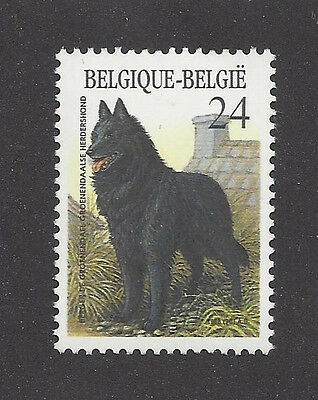 Dog Art Full Body Study Portrait Postage Stamp BELGIAN SHEEPDOG Belgium 1986 MNH