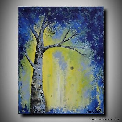 Abstract Oil Painting Birch Tree Blue Blooms 16 by 20 Modern Art by Ann Mikhail