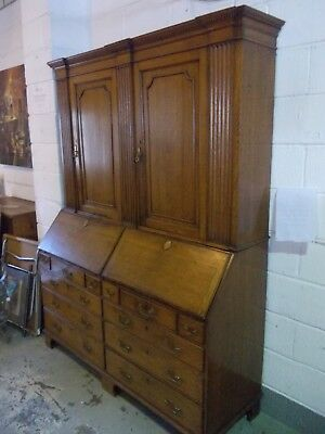 ANTIQUE twin DOUBLE Georgian bureau bookcase bureaux cabinet ESTATE CLERKS DESK