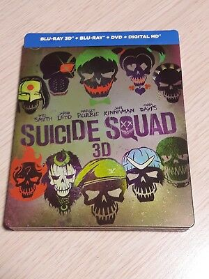 Blu ray Steelbook 3D + 2D + Dvd SUICIDE SQUAD neuf