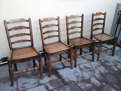 18th CENTURY 4 ANTIQUE CHAIRS SUPERB WEAR AND COLOUR TO THE WOOD BARGAIN PRICE