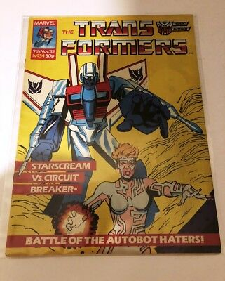UK G1 TRANSFORMERS # 34 Comic – MARVEL - 1985 - JOB LOT - Collectable