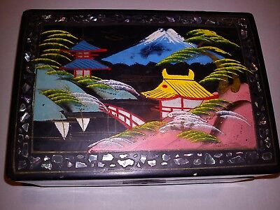 Japanese Hand Painted MOP Lacquered Vintage Musical Jewellery Box Mount Fuji