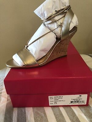 1f229e625dd0 Lilly Pulitzer Aria Wedge Gold Size 8