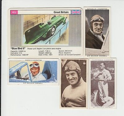 Speed Records : Sir Malcolm Campbell cigarette + trade card group - 5 cards