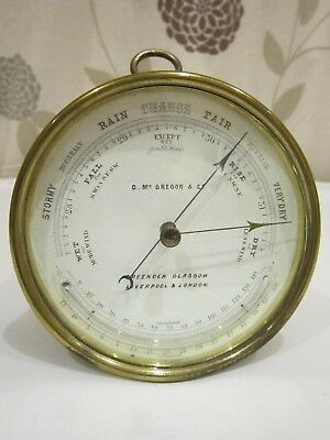 Vintage Brass D Mc GREGOR & Co  Barometer Nautical Maritime Marine Boat
