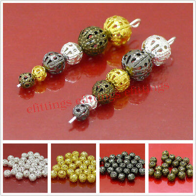Wholesale Filigree Round Spacer Beads Silver Gold Bronze Black Plated 4/6/8mm