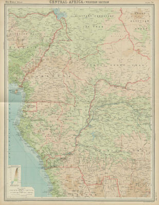 Colonial Central Africa. Belgian Congo. French Equatorial Africa. TIMES 1922 map