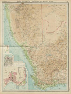 Colonial Southwest Africa. Cape Province. Cape Town. Namibia. TIMES 1922 map