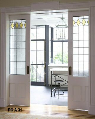 Pocket Doors interior  3/4 Stained Glass top Panel  & raised wood bottom panels
