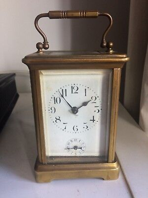Late 19th Early 20th Century Antique Brass Carriage Alarm Clock