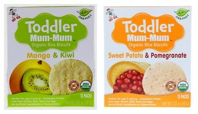 2 Boxes Hot-Kid Products Baby Mum-Mum Rice Rusk Organic Rice Biscuits Snack
