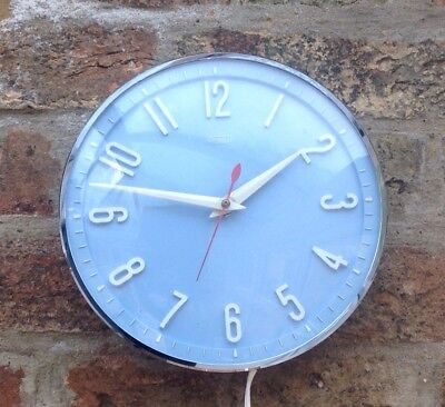 Vintage Retro Baby Blue Metamec Electric Wall Clock / Kitchen Clock